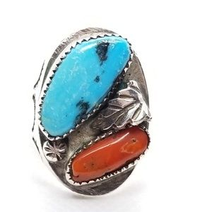 Vintage Old Pawn Turquoise & Red Coral Ring